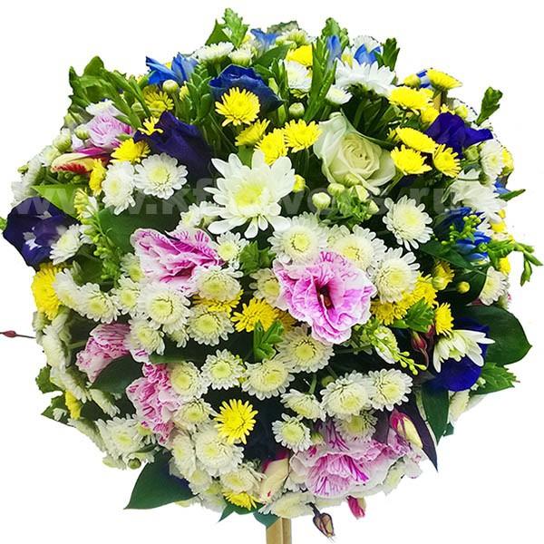Букет в виде дерева из цветов, букет синие белые красные розы