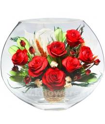композиция из цветов в стекле 14