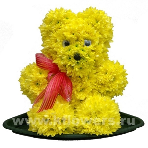 медвежата(35-40см) из цветов