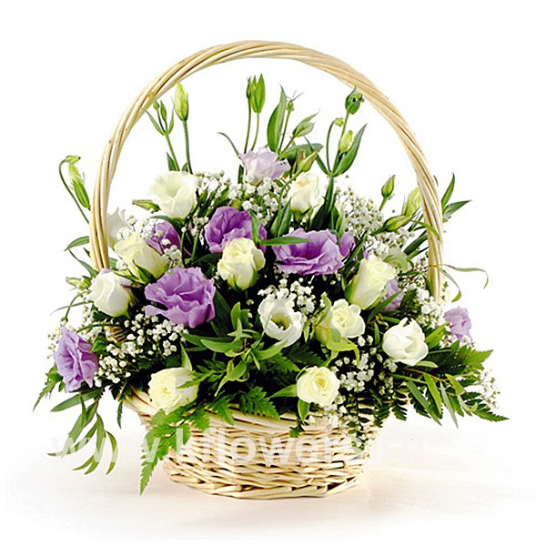 Фото в корзине цветов