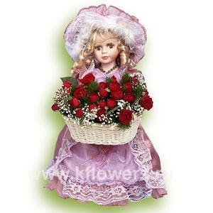 Кукла (40 см) с букетом