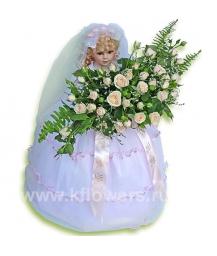 Кукла(60см) с букетом