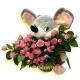 Мышонок (20см) с букетом