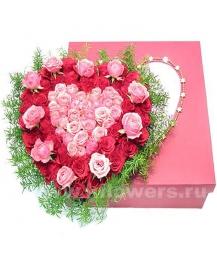 Композиция цветов сердце 24