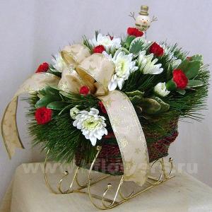 Композиция цветов новогодняя 14