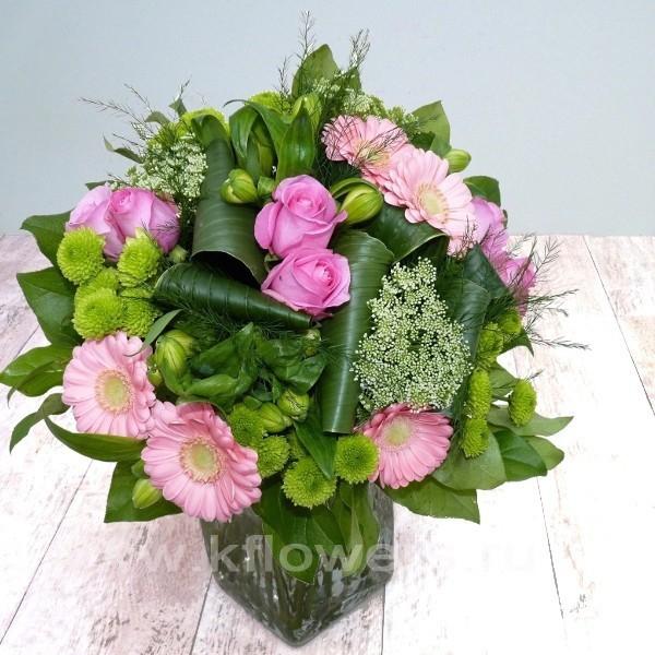Букет в стиле арт деко недорого, цветы круглосуточно в омске