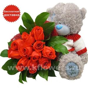 Медвежонок Тедди с букетом