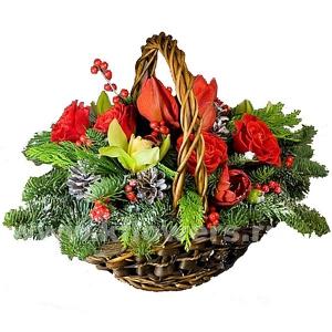 Композиция цветов новогодняя 36