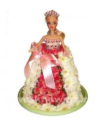 кукла Барби из цветов