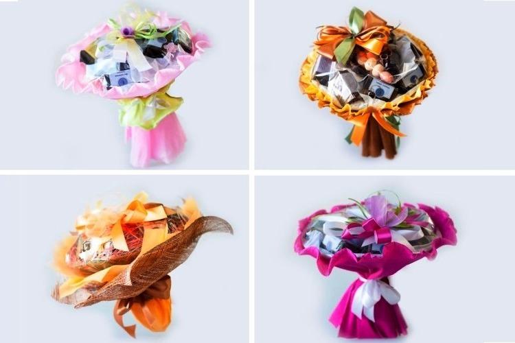 Великолепные букеты из свежих конфет - практичный и весьма эстетичный подарок