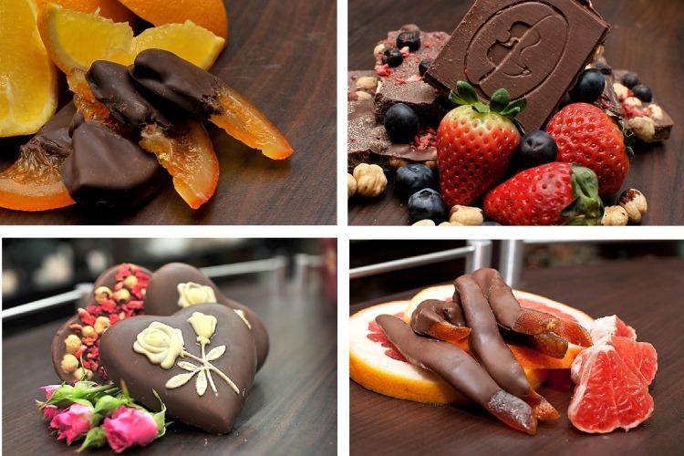 В изготовлении используются какао-бобы высшего сорта, натуральные фрукты, орехи, кофе