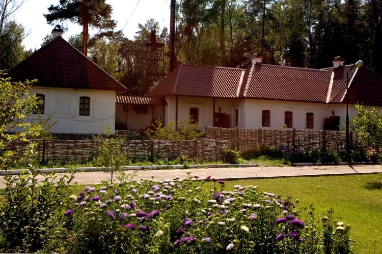 Душевный славянский экстерьер комплекса загородных коттеджей