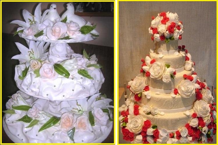 Романтичное оформление тортов к свадебным торжествам