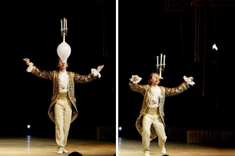 Канделябр балансирует на воздушном шаре, последний - на лезвии ножа