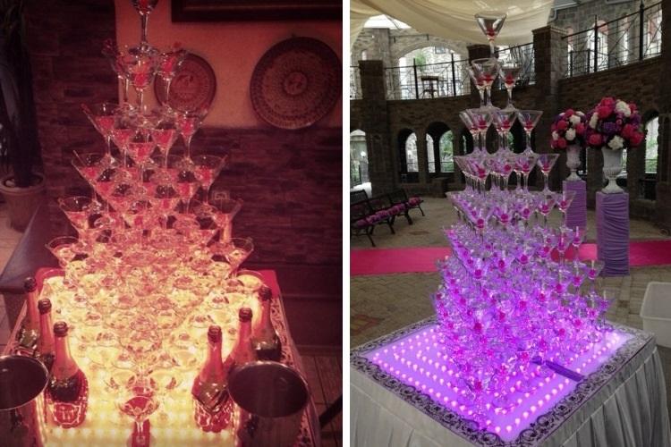 Грандиозная пирамида из фужеров с шампанским - потрясающее зрелище