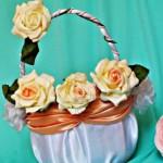 Мастер-класс по изготовлению свадебной корзинки для лепестков роз «Чайная роза»