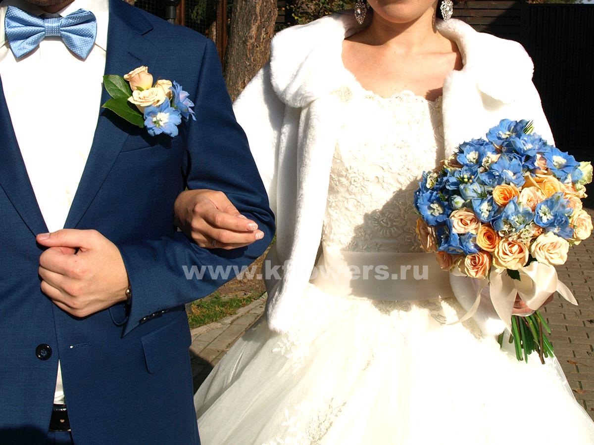 Цветочные аксессуары для жениха и невесты в стиле Тиффани