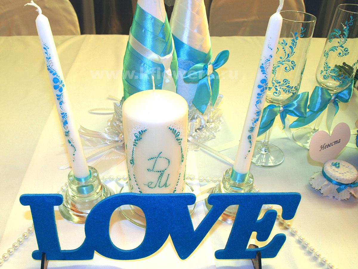 Эффектное оформление свадебного стола в стиле Тиффани