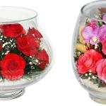 Изумительные стабилизированные букеты из неувядающих цветов в вакууме в стекле