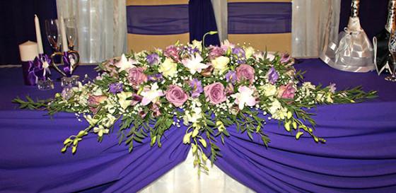 Фантастическая фиолетовая гамма в оформлении свадебного зала клуба Персона Грата