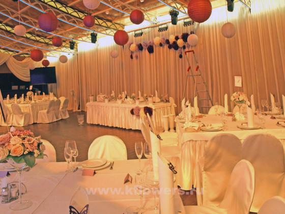 Розово-сиреневая свадьба - украшение банкетного зала в клубе Персона грата