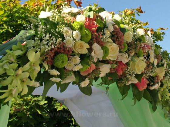 Украшенная живыми цветами свадебная арка смотрелась потрясающе