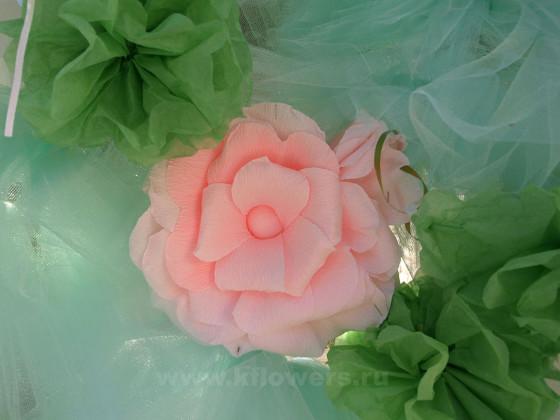 Сочетание популярной ныне мяты и розового обладает грандиозным декоративным эффектом